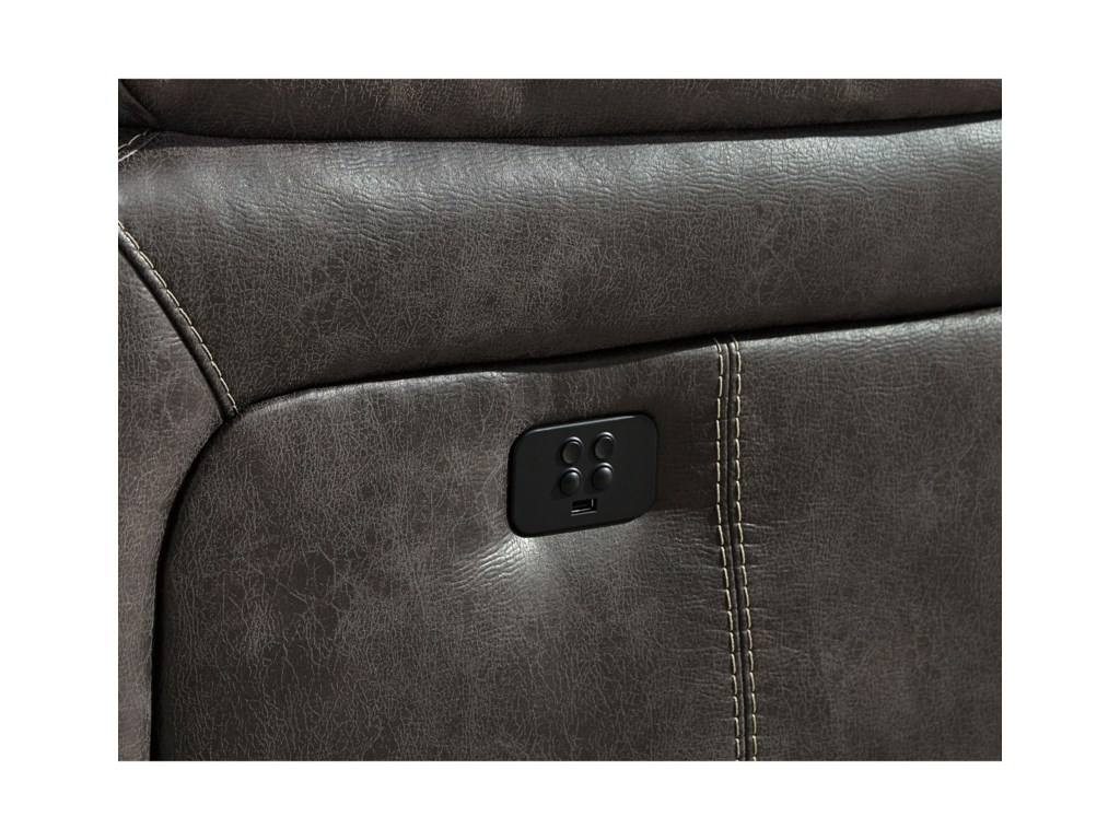 Signature Design By Ashley Dunwell Faux Leather Power Reclining Sofa
