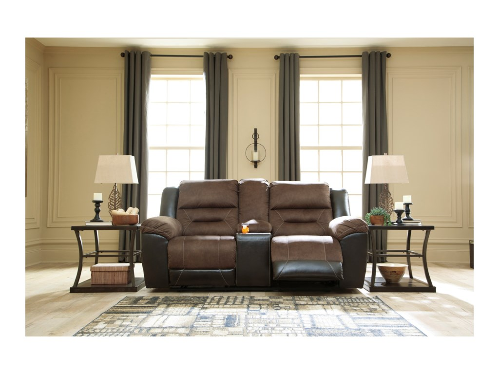 Signature Design by Ashley EarhartReclining Loveseat with Console