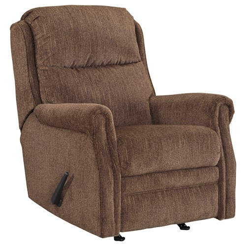 Signature Design by Ashley Earles Rocker Recliner with Rolled Arms