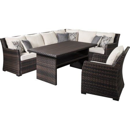 Outdoor Sectional with Table & Lounge Chair