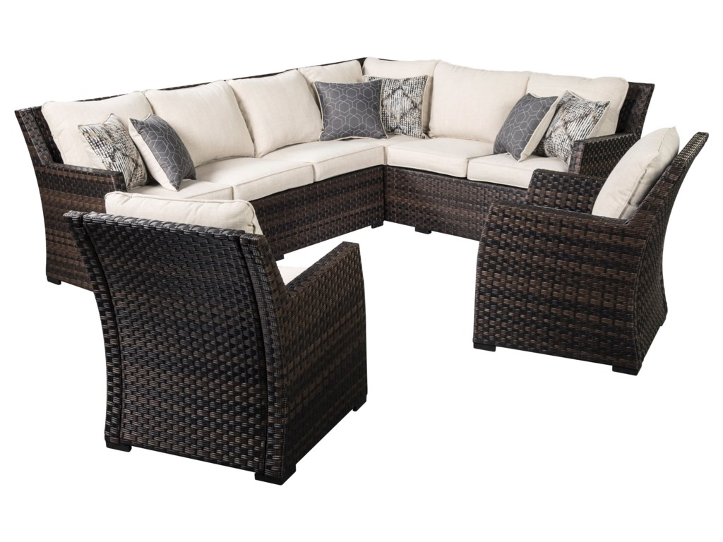 Signature Design by Ashley Easy IsleOutdoor 2-Piece Sectional & 2 Lounge Chairs