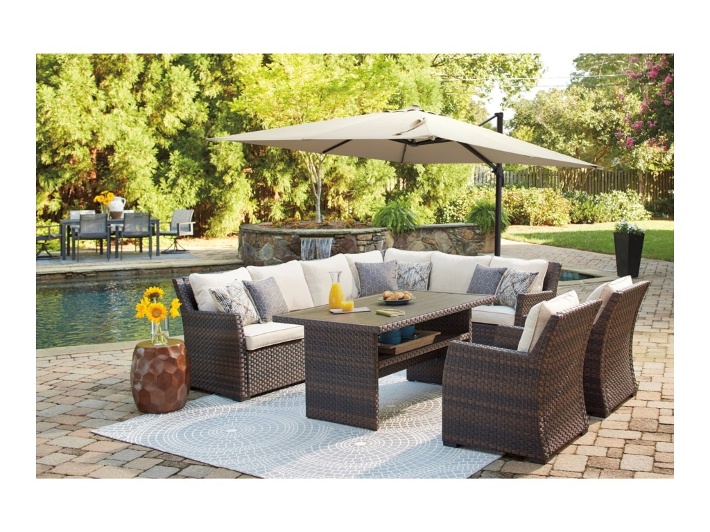 Signature Design by Ashley Easy IsleOutdoor 2-Piece Sectional & Lounge Chair Set