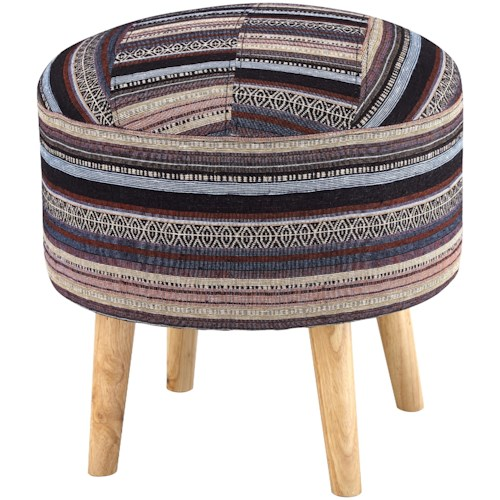 Signature Design by Ashley Eilert Woven Stripe Accent Stool with Wood Legs