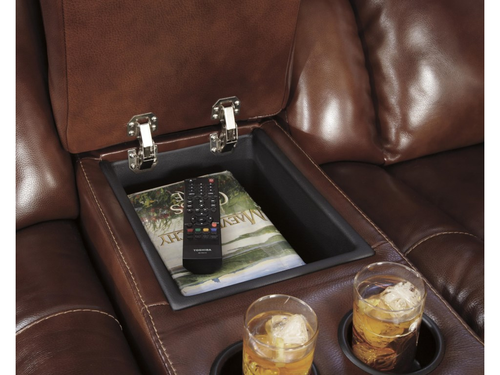 Storage Console with Built-in Cup Holders