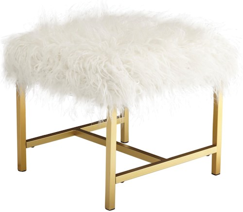 Signature Design by Ashley Elissa Stool with White Faux Fur and Gold Finish Legs