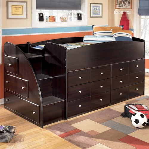 Signature Design by Ashley Embrace Twin Loft Bed with Left Steps & Chest Storage