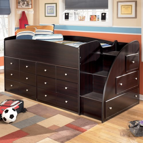 Signature Design by Ashley Embrace Twin Loft Bed with Right Steps & Chest Storage