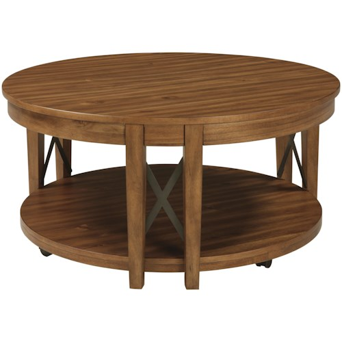 Signature Design by Ashley Emilander Acacia Veneer Round Cocktail Table with Casters & Industrial Metal Accents