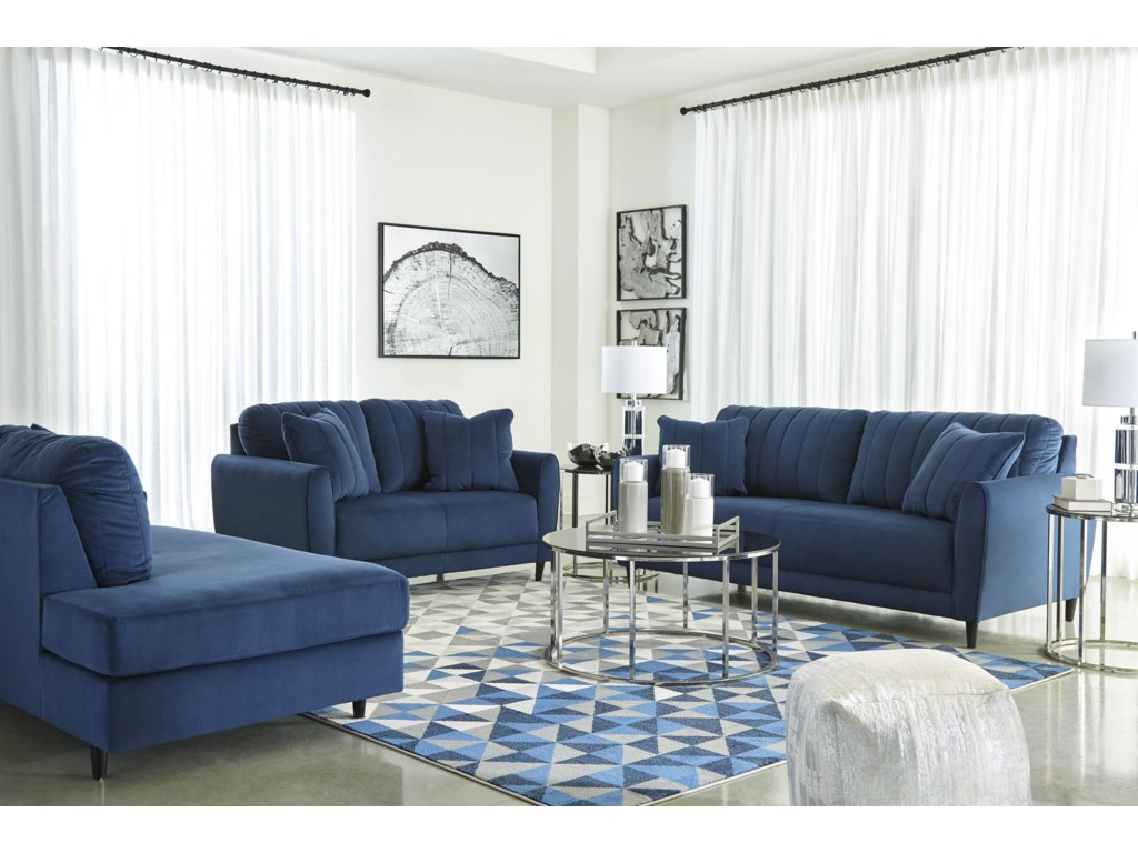Signature Design By Ashley Enderlin 1780138 17 Ink Sofa And Rfa Chaise Set Sam Levitz Furniture Stationary Living Room Groups