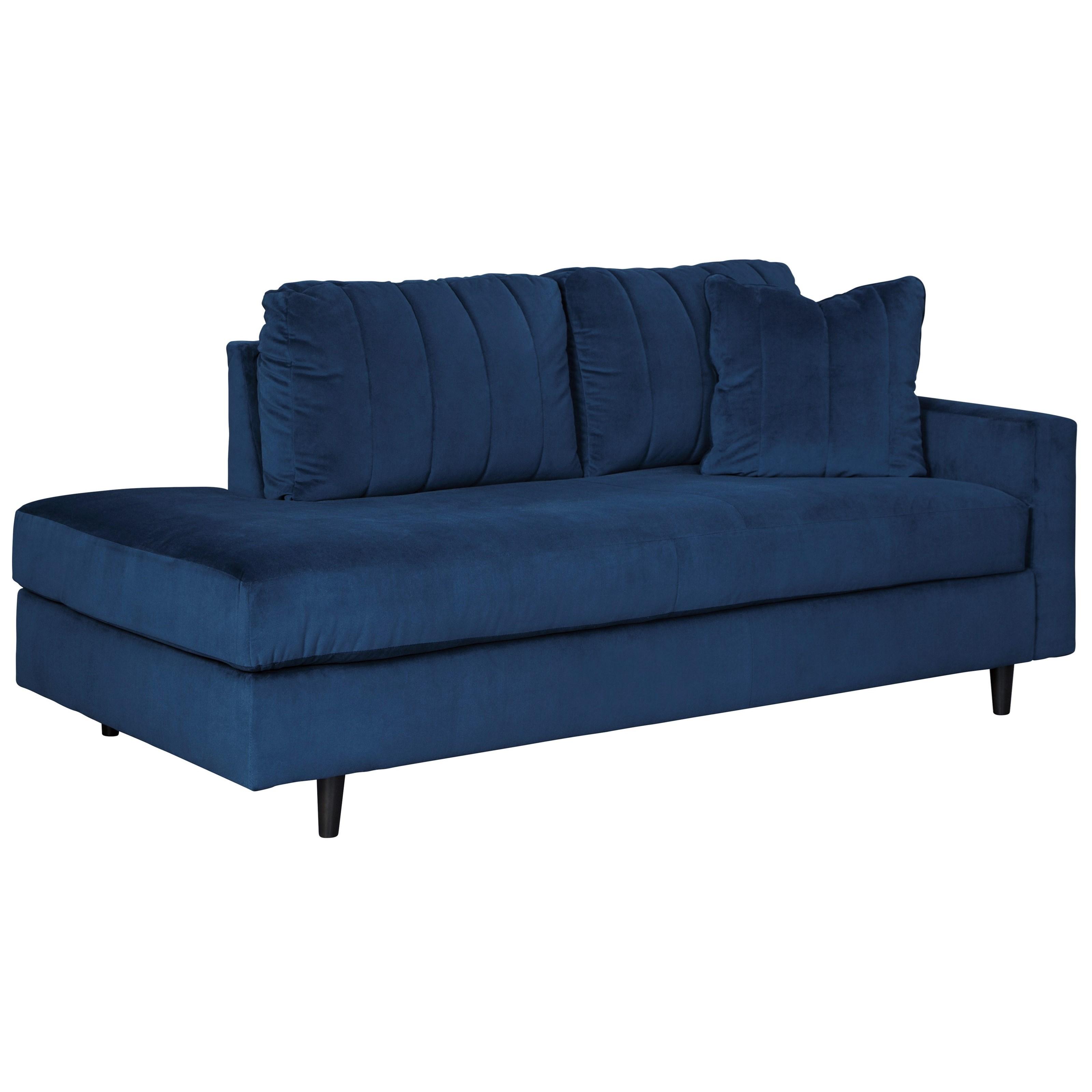 Contemporary RAF Corner Chaise in Blue Velvet Fabric