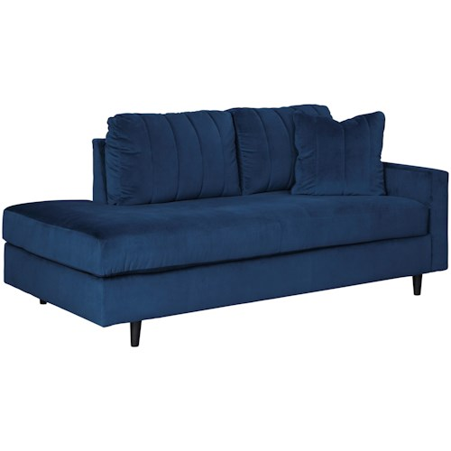 Signature Design by Ashley Enderlin Contemporary RAF Corner Chaise in Blue Velvet Fabric