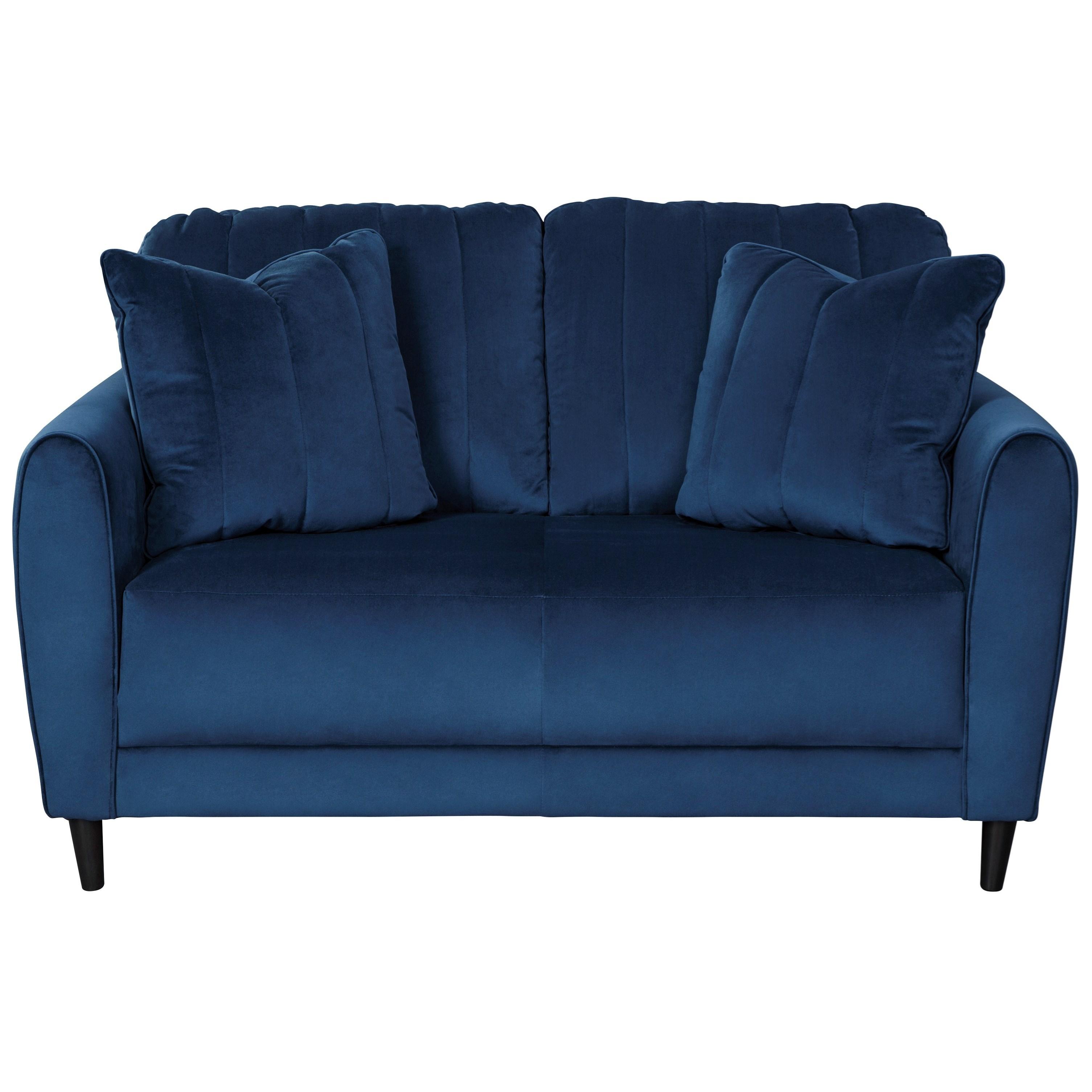 Contemporary Loveseat in Blue Velvet Fabric