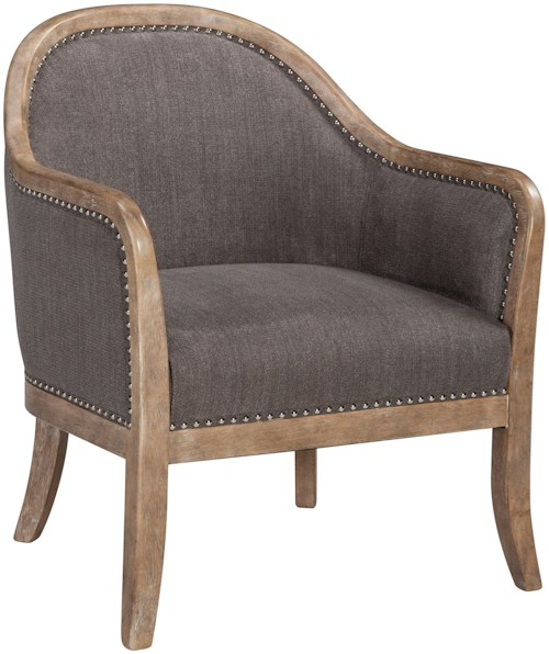 Signature Design by Ashley Engineer Transitional Wood Frame Accent Chair with Nailhead Trim