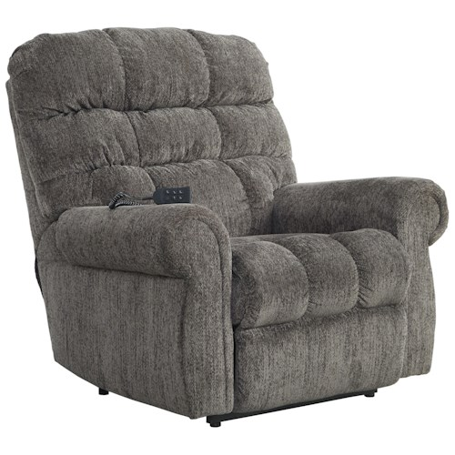 Signature Design by Ashley Ernestine Power Lift Recliner with Rolled Arms