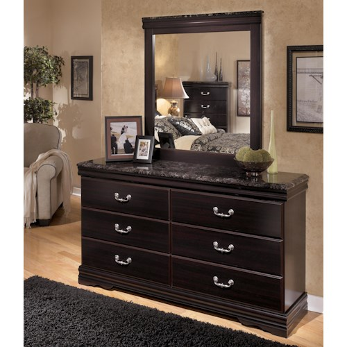 Signature Design by Ashley Esmarelda 6-Drawer Dresser with Faux Marble & Mirror