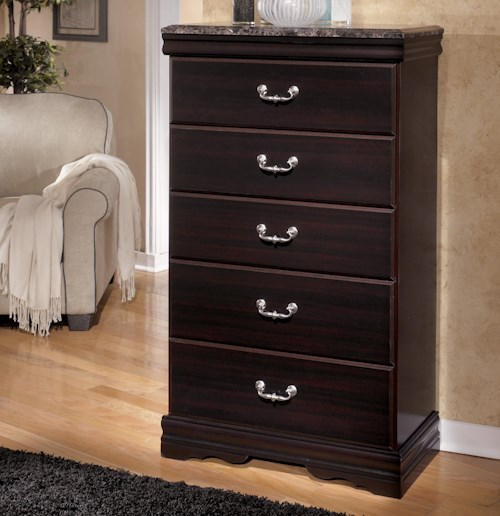Signature Design by Ashley Esmarelda 5-Drawer Chest with Faux Marble Top