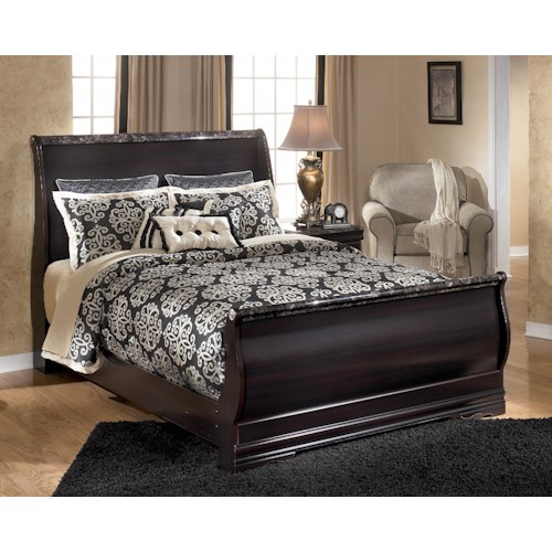 Signature Design by Ashley Esmarelda Queen Sleigh Bed with Faux Marble Trim