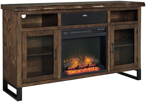 Signature Design by Ashley Esmarina Large TV Stand w/ Fireplace Insert, Bluetooth Speaker, & Faux Live Edge