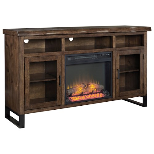 Signature Design by Ashley Esmarina Large TV Stand w/ Fireplace Insert & Faux Live Edge