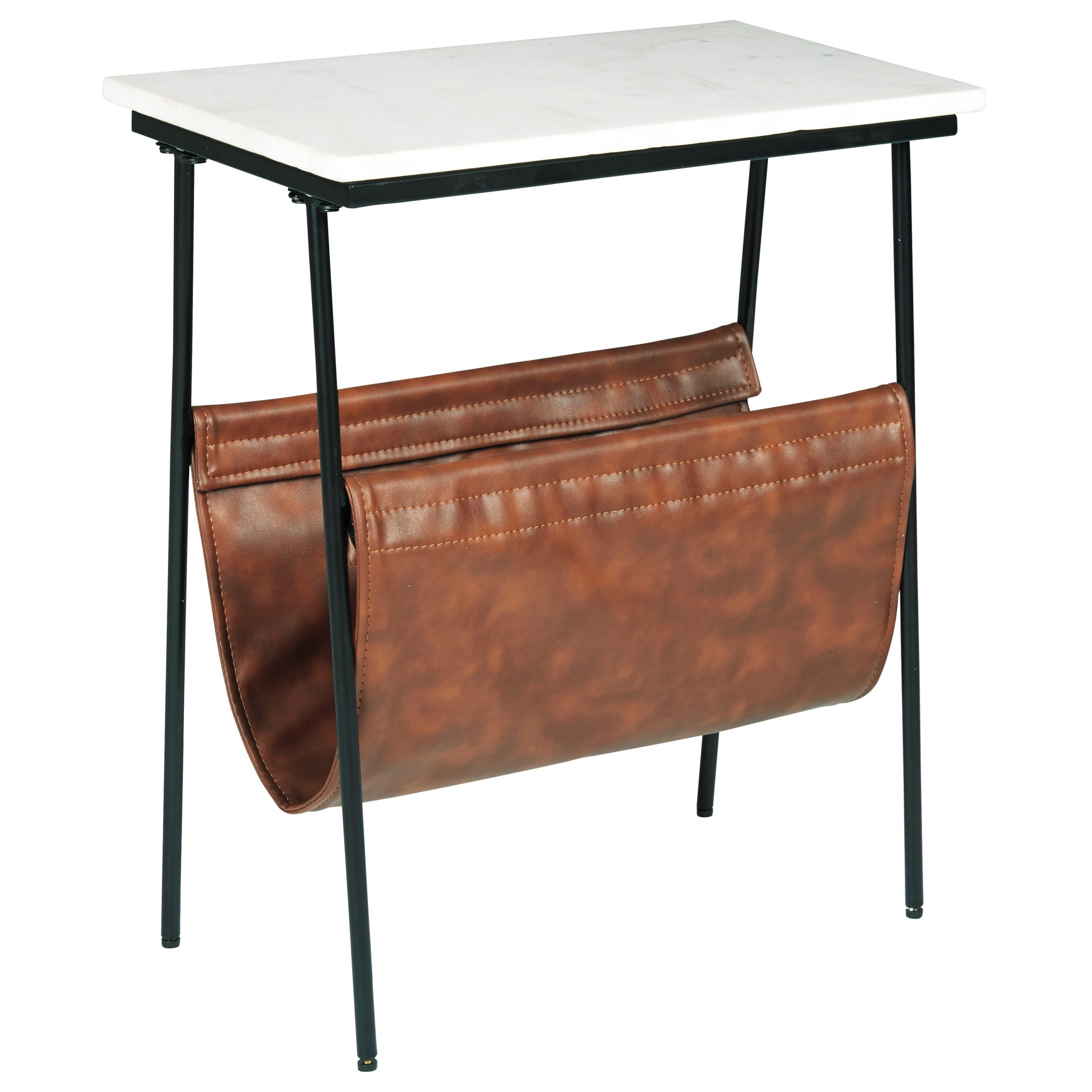 Picture of: Signature Design By Ashley Etanbury Black Metal Accent Table With White Marble Top And Brown Faux Leather Magazine Holder Wayside Furniture End Tables