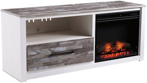 Signature Design by Ashley Evanni Large TV Stand with LED Fireplace