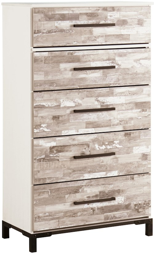 Signature Design by Ashley Evanni Rustic Gray/White Five Drawer Chest with Metal Feet