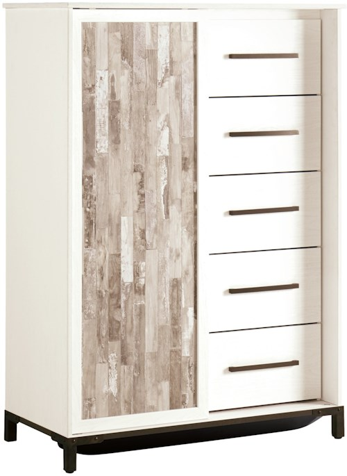 Signature Design by Ashley Evanni Rustic Gray/White Dressing Chest with Sliding Door