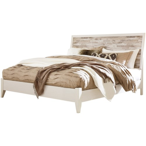 Signature Design by Ashley Evanni Rustic Gray/White King Panel Bed