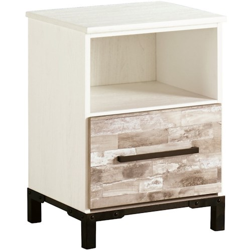 Signature Design by Ashley Evanni Rustic Gray/White One Drawer Night Stand with USB Chargers
