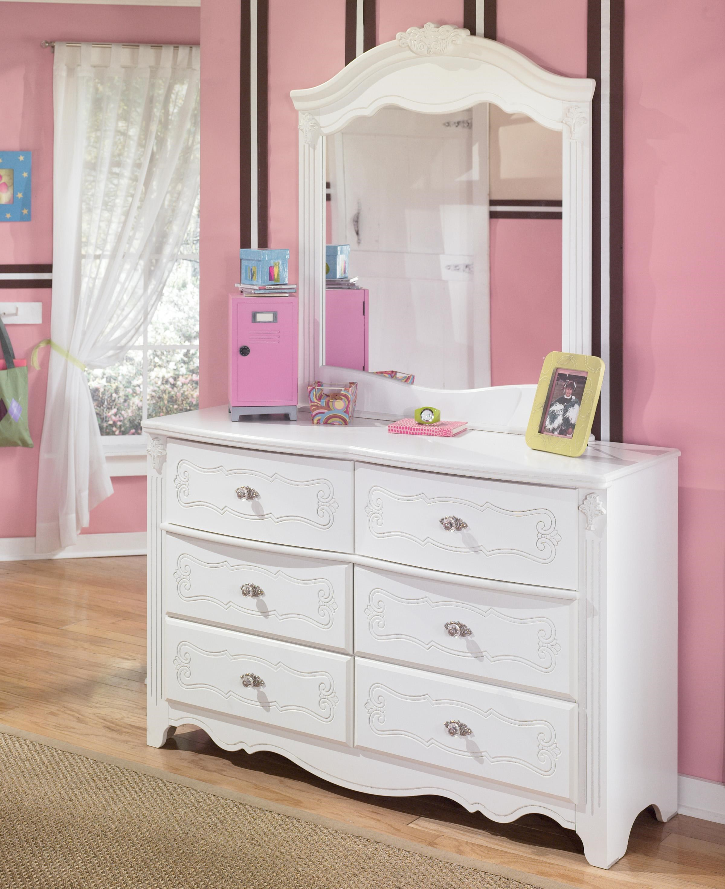 Signature Design By Ashley Exquisite Country Style 6 Drawer Dresser And Landscape Mirror Wayside Furniture Dresser Mirror Sets