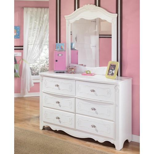 Signature Design by Ashley Exquisite Country Style 6 Drawer Dresser and Landscape Mirror