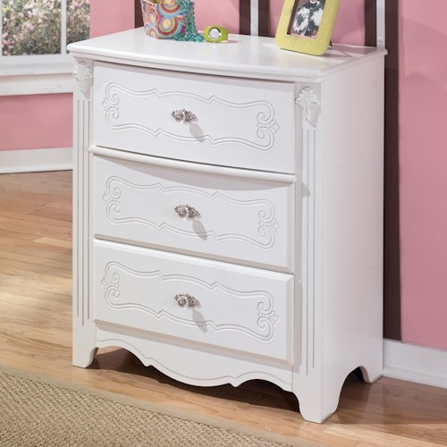 Signature Design by Ashley Exquisite French Country Inspired 3 Drawer Chest