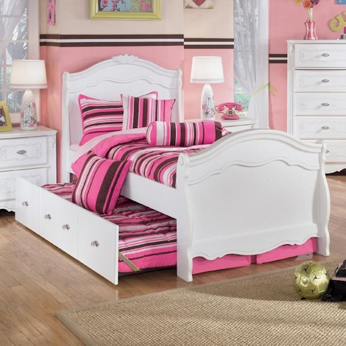 Signature Design by Ashley Lil' Darling Twin Sleigh Bed with Under Bed Trundle Panel