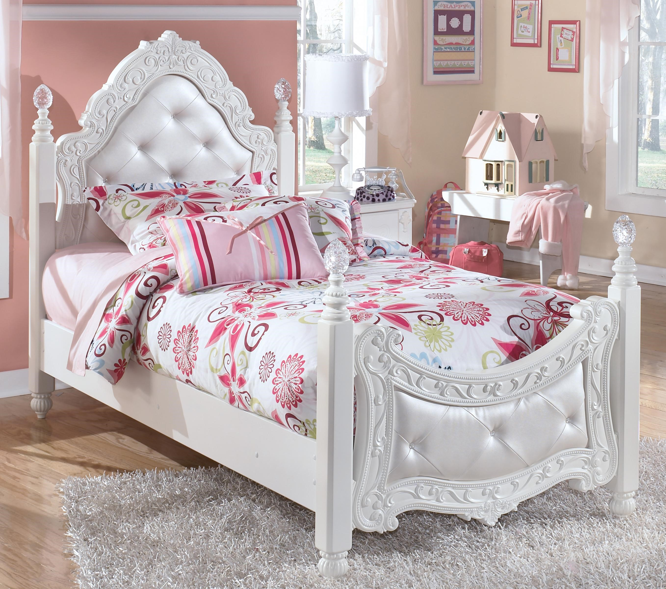 Signature Design By Ashley Exquisite Twin Ornate Poster Bed With Tufted Headboard Footboard Royal Furniture Upholstered Beds