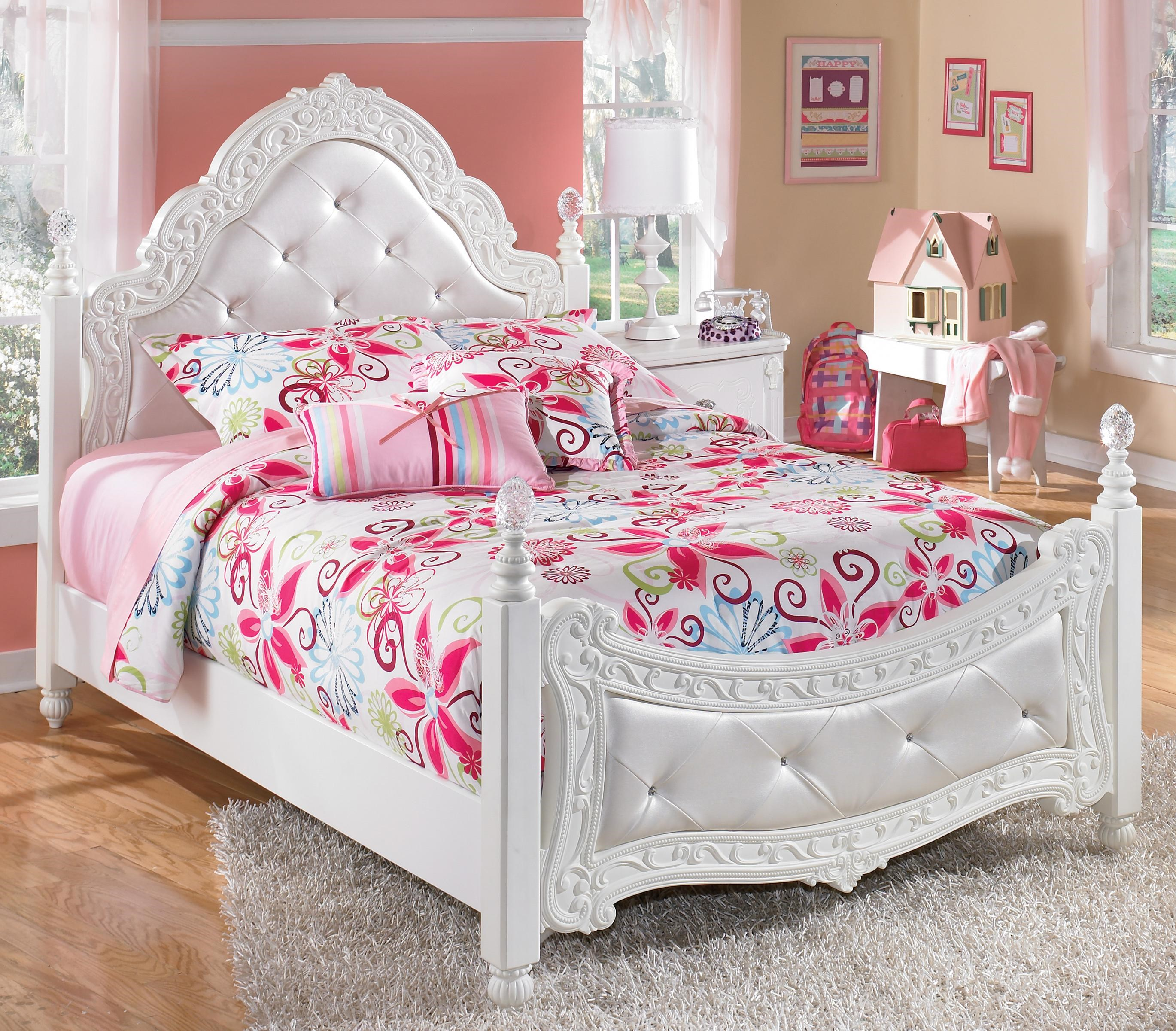 Signature Design By Ashley Lilu0027 Darling Full Ornate Poster Bed With Tufted  Headboard U0026 Footboard