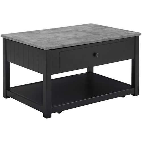 Signature Design by Ashley Ezmonei Lift Top Cocktail Table with Faux Marble Top