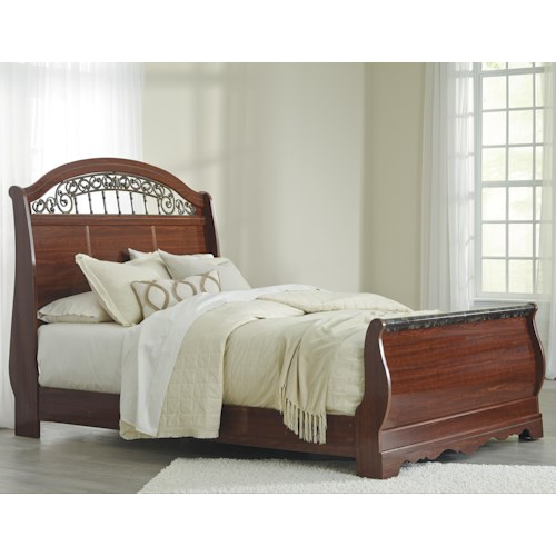 Signature Design by Ashley Brookfield Queen Sleigh Bed with Scrolled Insert and Faux Stone Top Footboard