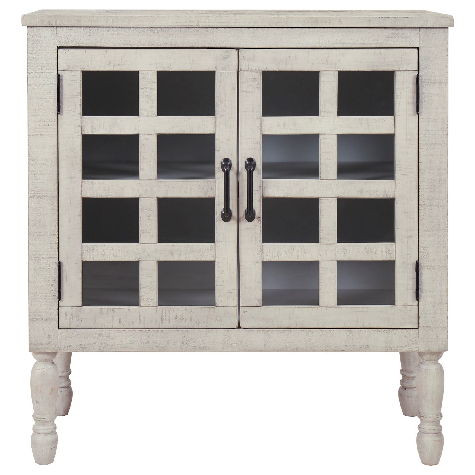 Accent Cabinet in White Finish and Glass Doors