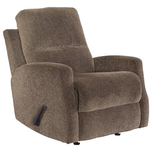 Signature Design by Ashley Fambro Modern Rocker Recliner with Track Arms and High Back