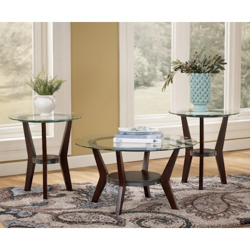 Signature Design by Ashley Fantell 3-in-1 Group Occasional Tables with Glass Tops
