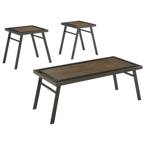 Signature Design by Ashley Farna 3-Piece Contemporary Metal and Wood Occasional Table Set