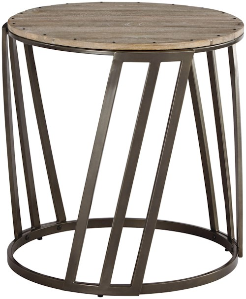 Signature Design by Ashley Fathenzen Relaxed Vintage Round End Table with Plank Top