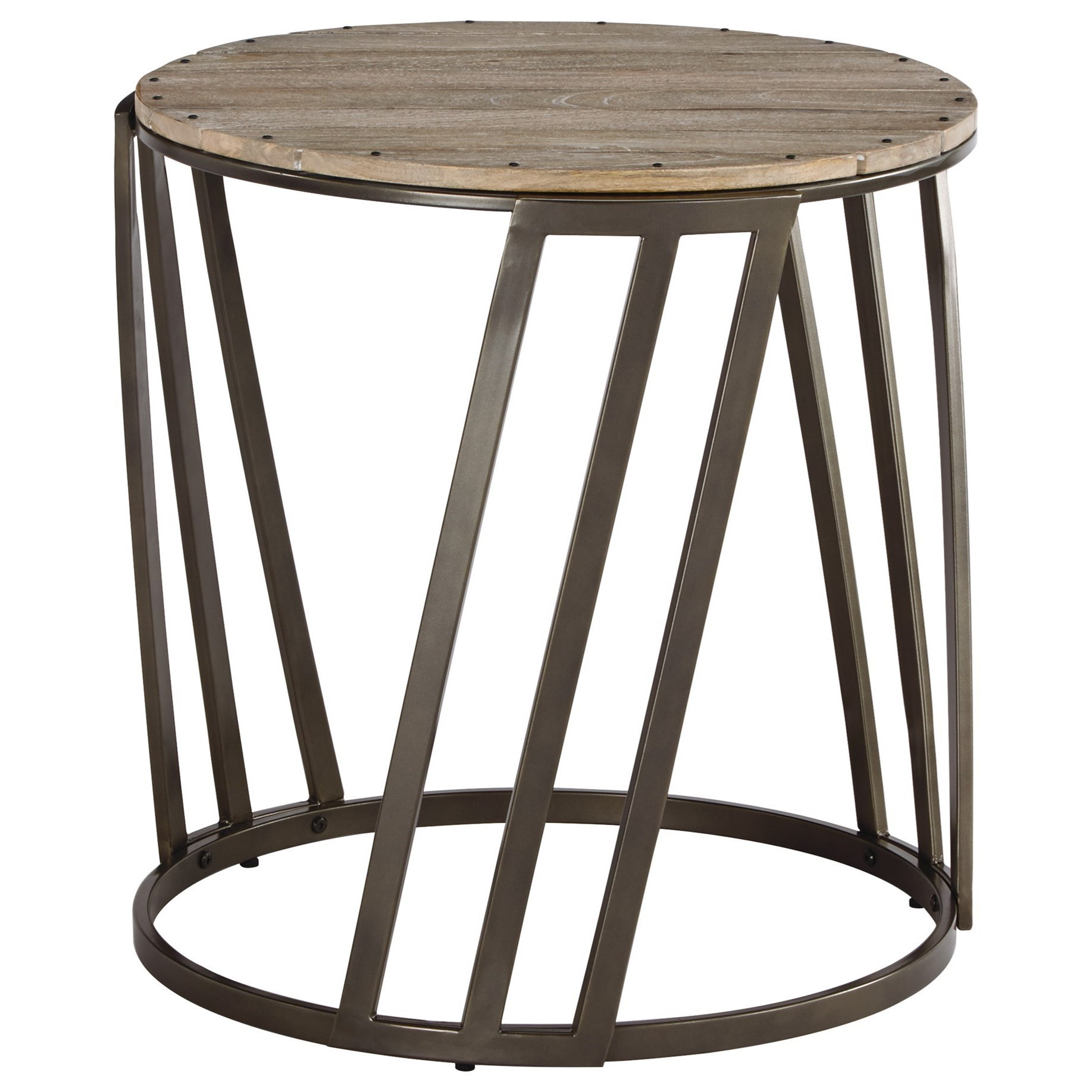 Bon Fathenzen Relaxed Vintage Round End Table With Plank Top By Signature  Design By Ashley
