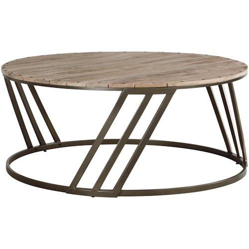Signature Design by Ashley Fathenzen Relaxed Vintage Round Cocktail Table with Plank Top