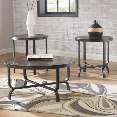 Signature Design by Ashley Ferlin Wood & Steel Round Top Occasional Table Set
