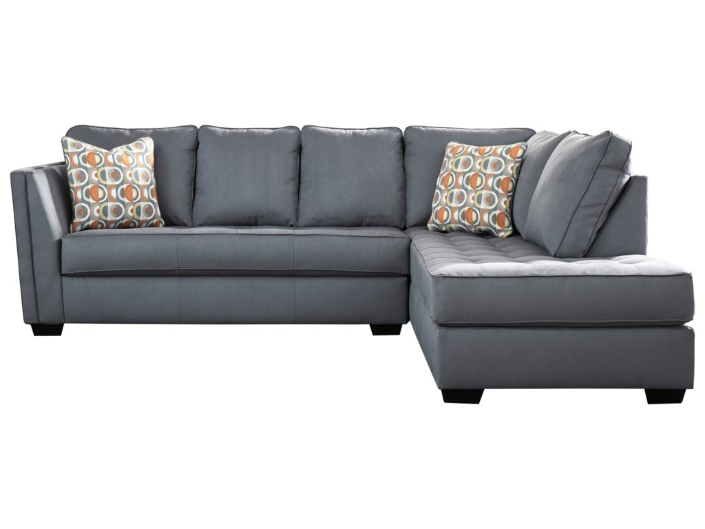 Filone Contemporary Sectional Sofa With Chaise And Cushion Tufting By Signature Design Ashley At Van Hill Furniture