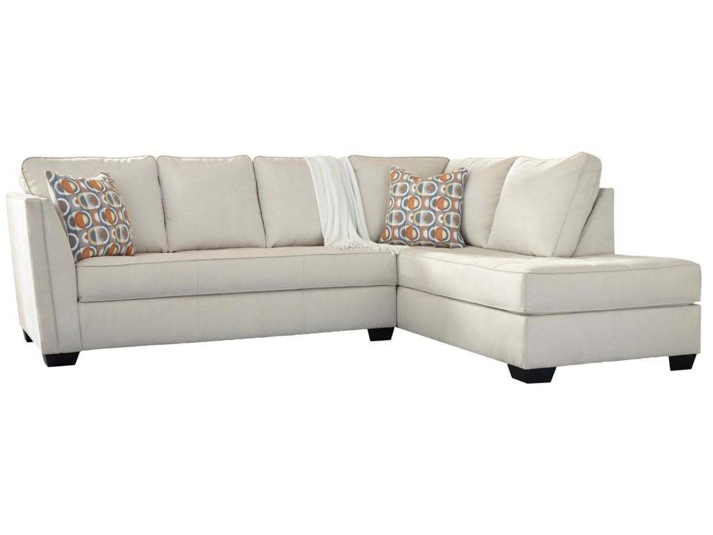 Filone Contemporary Sectional Sofa with Chaise and Cushion Tufting by  Signature Design by Ashley at Household Furniture