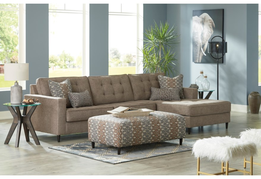 Flintshire Mid Century Modern 3 Seat Sectional Sofa with Oversized RAF  Chaise by Signature Design by Ashley at Dream Home Interiors
