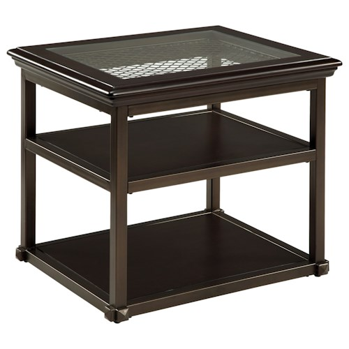 Signature Design by Ashley Florentown Wood/Metal Rectangular End Table with Glass Top