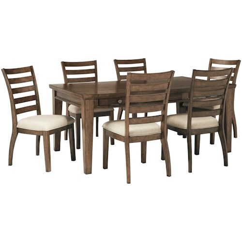 Signature Design by Ashley Flynnter 7 Piece Storage Table and Upholstered Chair Set